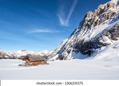 Picturesque landscape at Ciampac ski area, Penia, Val di Fassa, Dolomites, Italy