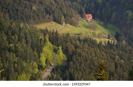 Picturesque landscape of a European secluded country house in a forest of Schwarzwald, Germany