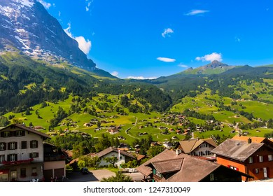 Picturesque landscape of Grindelwald valley nestled between the Wetterhorn, Mettenberg and Eiger mountains