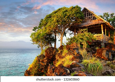 Picturesque landscape with hut. Apo island, Philippines