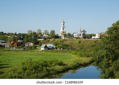 Picturesque landscape, Kamenka River and the temples on the hill, Suzdal, Russia