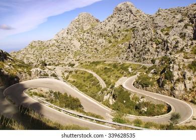 Picturesque landscape with mountain road to Sa Calobra.   Mallorca