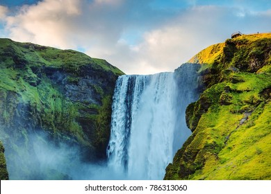 Waterfall mountain images stock photos vectors shutterstock picturesque landscape of a mountain waterfall and traditional nature of iceland altavistaventures Images
