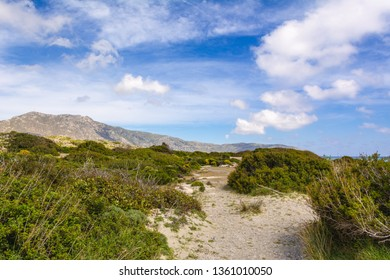 Picturesque landscape with mountains in the background on Elafonisi beach. Island of Creta, Greece