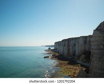Picturesque landscape of natural cliffs of Atlantic coastline near the Etretat, Normandy, France.