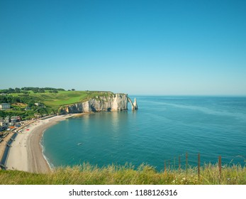 Picturesque landscape of natural cliffs Aval of Etretat and beautiful famous coastline, Normandy, France.