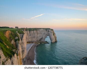 Picturesque landscape of natural cliffs and beautiful famous coastline of Etretat, Normandy, France.