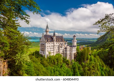 Picturesque landscape with the Neuschwanstein Castle. Germany.