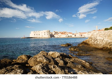 picturesque landscape overlooking the fort of St. John, a lighthouse and a port and the old town. Dubrovnik, Croatia