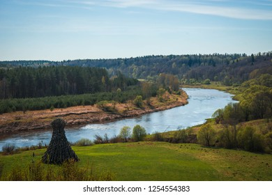 Picturesque landscape with river in Kaluga region in Russia