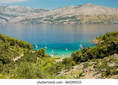 Picturesque landscape of sandy Lovrecina beach on Brac island, Croatia