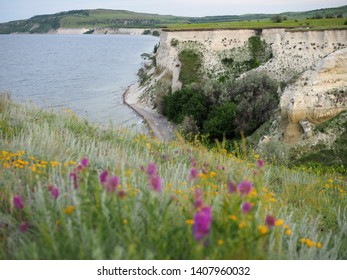picturesque landscape with views of meadow grass and steep steep coast by the sea