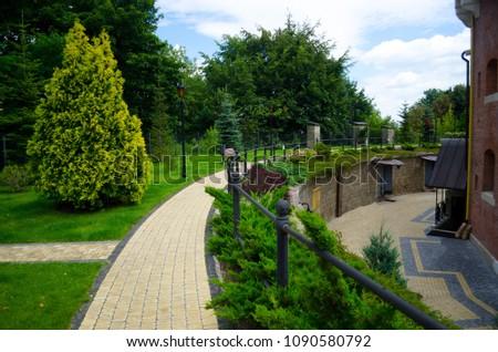 Picturesque Landscaped Garden Citadel Lviv Fortification Stock Photo