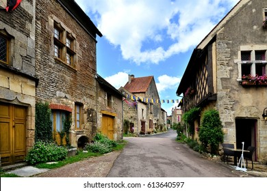 Picturesque lane in a medieval village in Burgundy, France