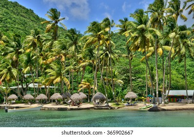 the picturesque Marigot Bay in the island of Saint Lucia in caribbean