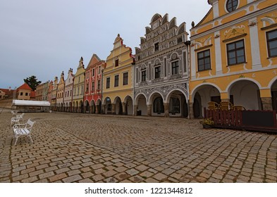 Picturesque medieval buildings on the main square of Telc. Famous touristic place and travel destination in Czech Republic. A UNESCO world heritage site. Telc, Southern Moravia, Czech Republic.