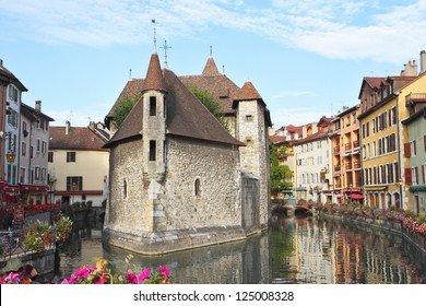 The picturesque medieval prison in the old French resort town of Annecy. Today it is a museum. The building looks great in the middle of a large city canal