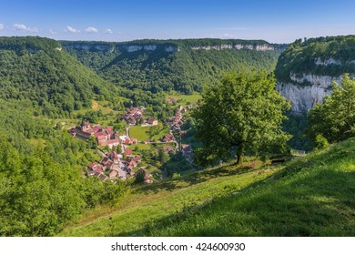 Picturesque medieval village Chateau-Chalon in valley. Chalon, Departement Jura, Franche-Comte, France