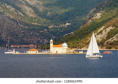 Picturesque Mediterranean landscape. Montenegro, autumn . View of Bay of Kotor and Church of Our Lady of the Rocks ( Gospa od Skrpjela )