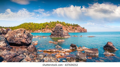 Picturesque Mediterranean seascape in Turkey. Bright view of a small azure bay near the Tekirova village, District of Kemer, Antalya Province. Beauty of nature concept background.