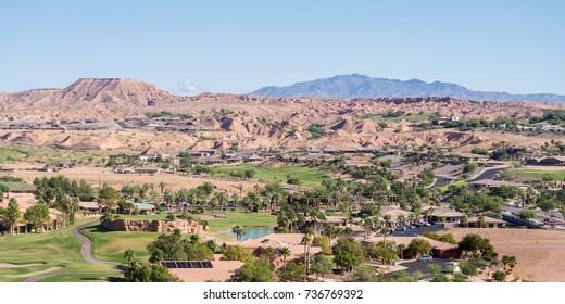 Picturesque Mesquite, Nevada, nestled in a valley amongst mesas and mountains.