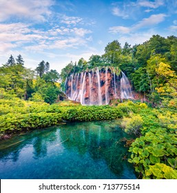 Picturesque morning view of Plitvice National Park. Colorful spring scene of green forest with pure water waterfall. Great countryside landscape of Croatia, Europe. Beauty of nature concept background