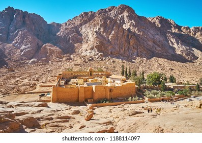 The picturesque mountain landscape around the monastery of St Catherine, the ancient Orthodox landmark, preserved in Sinai, Egypt.