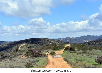 A picturesque mountain landscape, a road for walking under the blue skies.Topanga Canyon, California.