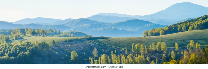 Picturesque mountain landscape. Spring greenery of forests and meadows. Panoramic view.