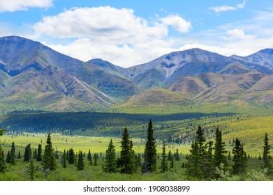 Malerische Berge von Alaska im Sommer. Schneebedeckte Massiven, Gletscher und Felsspitzen. Schöner natürlicher Hintergrund.