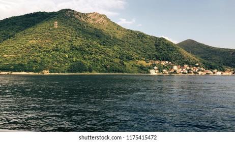 Picturesque mountains and town of Bay of Kotor or Boka Kotorska, Montenegro