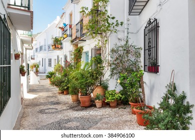 Picturesque narrow street decorated with plants. Frigiliana, Andalusia, Spain.