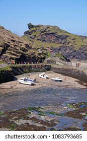 The picturesque natural harbour of Boscastle in Cornwall with its rocky entrance to the sea beyond