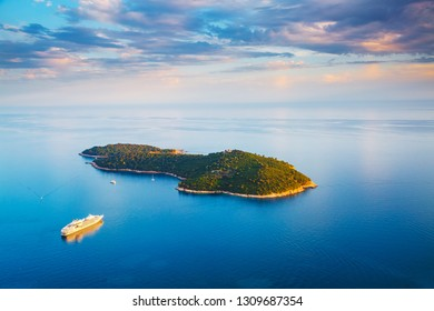 Picturesque nature Lokrum Island in a beautiful summer day. Location place Dubrovnik old town, Croatia, South Dalmatia, Europe. Mediterranean famous european resort. Discover the beauty of earth.