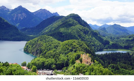 Picturesque nature panorama with Schloss Hohenschwangau, Germany