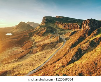 Picturesque near winter landscape in Isle of Skye northern Scotland, United kingdom, Europe. Landscape view of Quiraing mountains