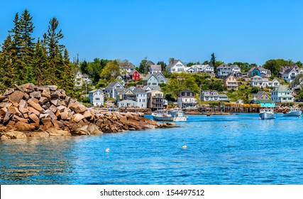 Picturesque New England fishing village waterfront and harbor. Location: Stonington, Maine