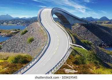 Picturesque Norway sea landscape with bridge. Atlanterhavsvegen