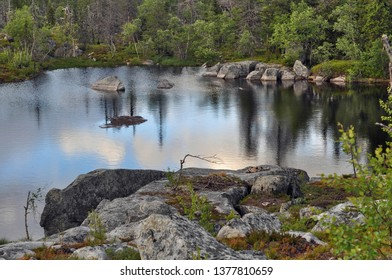 A picturesque not deep lake with clear water on the top of a mountain among an unusual forest, the sky and trees are reflected in the water
