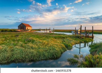 The picturesque old harbour and salt marshes at Thornham on the north coast of Norfolk