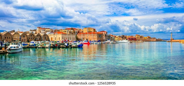 Picturesque old port of Chania. Landmarks of Crete island. Greece