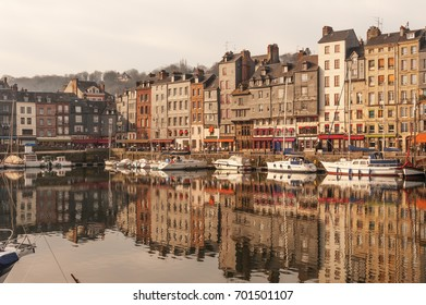 Picturesque old port of Honfleur in Normandy region of France