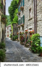 Picturesque old street with flowers in Italy