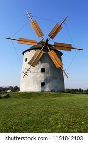 Picturesque old windmill, Tés, Veszprém County, Hungary.