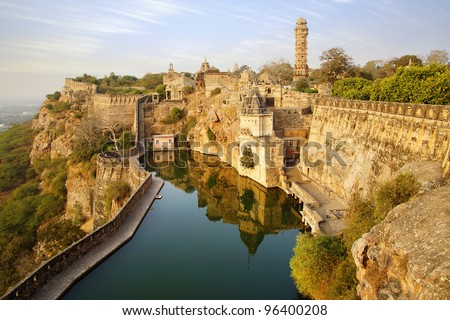 Picturesque panorama of Cittorgarh Fort, India