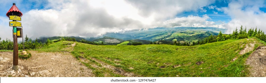 Picturesque panorama of hiking trail in mountains of Slovakia.
