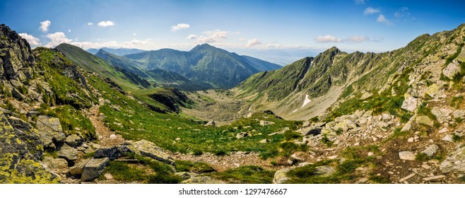 Picturesque panorama of mountainous landscape in Slovakia on sunny summer day.