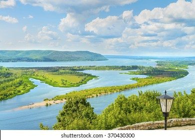 Picturesque panoramic view from the height on the touristic part of the Volga river near Samara city at summer sunny day.Beautiful natural landscape.Central part of Russia.Europe.