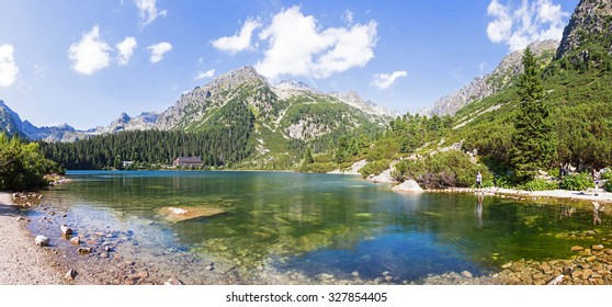 Picturesque panoramic view of Popradske Pleso, Tatra mountains, Slovakia