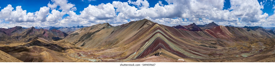Picturesque panoramic view of Rainbow mountains in Vinicunca, Peru